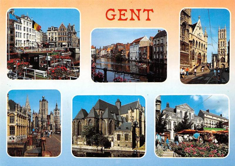 Belgium Gent multiviews Eglise Church Terrace Street Boats