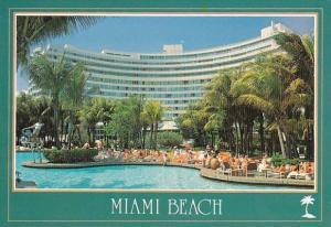 Florida Miami Beach The Pool Area At The Famous Fontainebleau Hilton Hotel