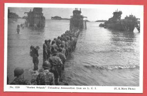 Naval Ships - #1220 - Bucket Brigade Unloading Ammunition from an LCI