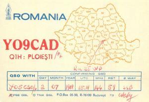Amateur Radio Station QSL Romania card country Ploiesti YO9CAD