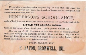 TC C.M.Henderson & Co celebrated Boots & Shoes, 1890s Kids playing on school ...