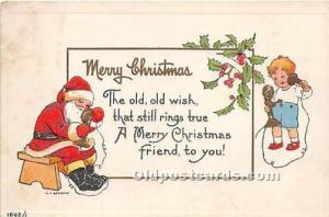 Santa Claus Postcard Old Vintage Christmas Post Card Writing on back