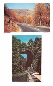 Virginia Natural Bridge and Hwy 211 Shenandoah National Park VA Vintage Postcard