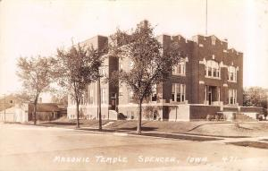 Spencer Iowa~Masonic Temple~Creamery Co Behind~1937 Real Photo Postcard~RPPC
