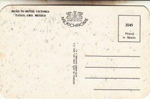 P1956 vintage postcard birds eye viewroad to hotel victoria taxco gro mexco