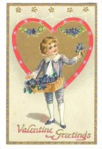 Boy with flower box sells violets ,  Valentine , 00-10s;  TUCK #11 , Floral M...