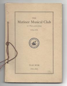 Matinee Musical Club 1931-1935 Yearbook Phildelphia PA 101 pages