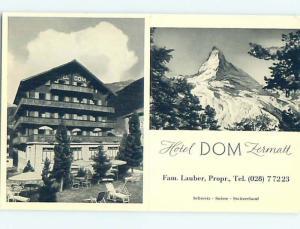 old rppc HOTEL DOM Zermatt - Visp - Valais Switzerland HM1861