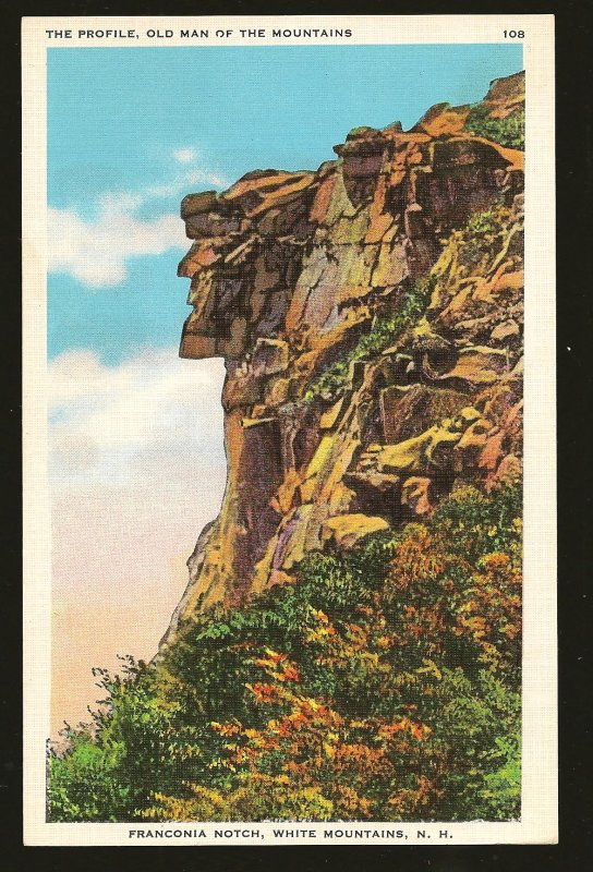 USA The Profile Old Man of The Mountains White Mountains N. H. Linen Postcard