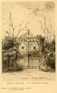 SC - Charleston, Wrought Iron Gate in a City Garden   Artist Signed: Elizabet...