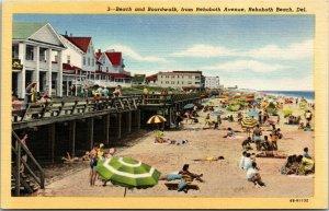 Postcard DE Rehoboth Beach Beach and Boardwalk from Rehoboth Ave. LINEN 1940S L7