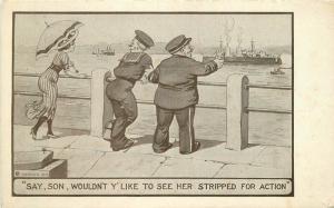 Artist impression C-1910 Sailors woman Risque Stripped for action Postcard 1162