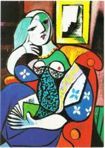 Woman with Book by Pablo Picasso Art Postcard
