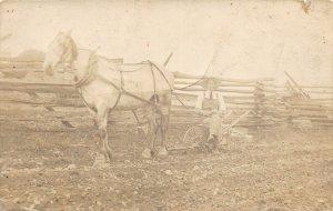 G90/ Interesting RPPC Postcard c1910 Farm Horse Drawn Plow Field 15