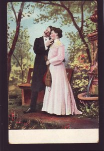 P1578 old unused postcard romance a good looking couple music instrument