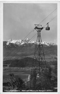 Austria Villach-Kanzelbahn, Blick auf Villach und Mangart (2678 m) cable car AK
