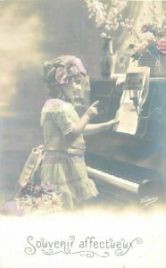 1920s Little Girl Hand Tint Piano Music Interior RPPC Photo Postcard 7431
