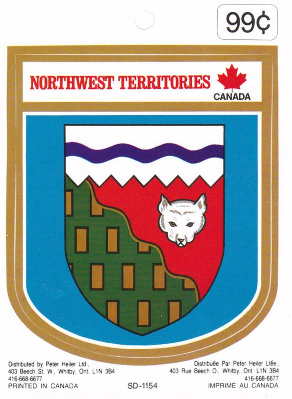 Sticker, NORTHWESTERN TERRITORIES, Canada, 1940-60s; Coat of Arms