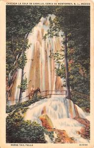 Mexico Old Vintage Antique Post Card Horse Tail Falls Cerca de Monterrey 1937...