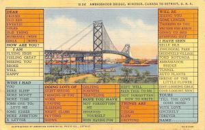 Detroit Michigan~Ambassador Bridge~Busy Person Correspondence Card~1937 Linen PC