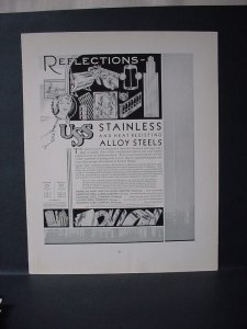1932 USS Stainless Heat Resisting Alloy Steels Vintage Print Ad 11642