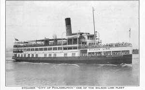 City of Pennsylvania Steamboat Wilson Line Fleet Postcard 20-1163