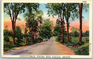 BIG FALLS, Minnesota Postcard Generic Greetings Road Scene Curteich Linen 1943