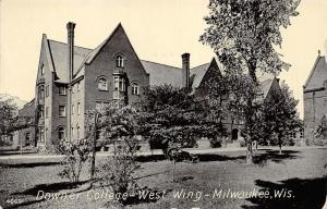 Milwaukee Wisconsin~Downer College West Wing~Trees-Bench-Bushes in Yard~c1910 Pc
