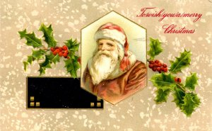 Greeting - Christmas. Santa Claus in brown robe  (Winsch)