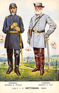 Civil War Post Cards Gen. George Meade, Gen. Robert E Lee Gettysburg, USA Unused