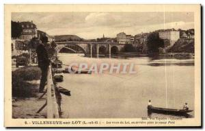 Old Postcard Villeneuve sur Lot The banks of the Lot in the background the ol...