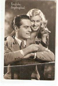 Couple romance. Toastingc Old vintage postcard