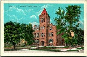 Arkansas City, Kansas Postcard HIGH SCHOOL Building / Street View c1930s KROPP