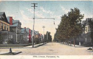 Parnassus Pennsylvania~Fifth Avenue Homes~Hanging Light Bulb Street Lamp~1909 PC