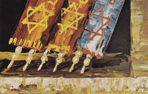 ARTIST Morris Katz, Jewish Theme Postcard; Three Torahs, 1972