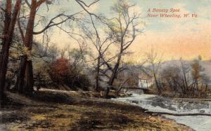 Wheeling West Virginia~Beauty Spot~Rickety Ohio River Bridges~1911 Postcard