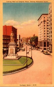 Maine Portland Looking West On Congress Street Showing Monument Square Dexter...
