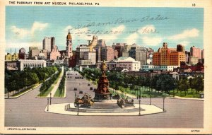 Pennsylvania Philadelphia The Parkway From Art Museum 1941