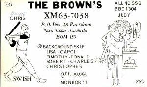 QSL Radio Card From Parrsboro Nova Scotia Canada XM63-7038