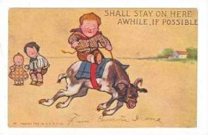 Goat Comic  Cild ride Goat, Shall stay here awhile, if possible, PU-1904