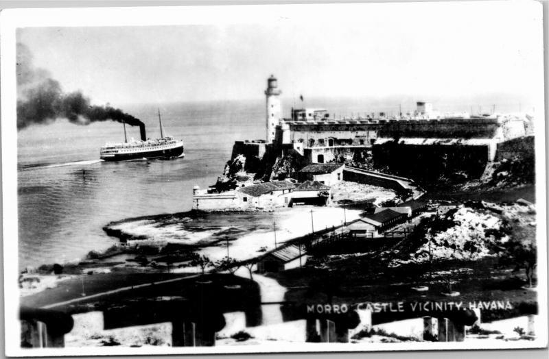 RPPC View of Morrow Castle, Havana Bay Habana Cuba Vintage Photo Postcard G11