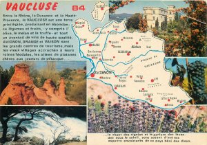 France Post card Vaucluse various aspects and scenes map area