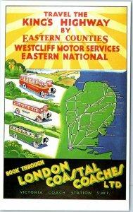 Bus Postcard LONDON COASTAL COACHES Dalkeith's Classic Poster Series Unused