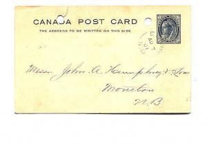 Victoria 1 C, Canada Postal Stationery, Split Ring Cancel, 1901, New Brunswick