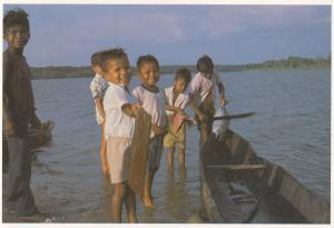Bluefields Nicaragua Kara Children Miskito Fishing Postcard