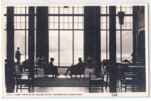 RPPC, Lobby Prince of Wales Hotel, Waterton Lakes Park, Alta