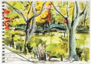 Yakushi Pond Park Tokyo Stunning Japanese Sketch Painting Postcard