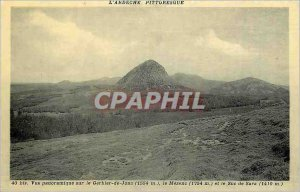 Old Postcard The Ardeche Picturesque Panoramic view of the Gerbier de Performed