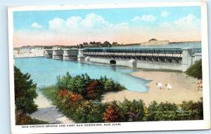 San Juan Puerto Rico San Antonio Bridge Fort San Geronimo Vintage Postcard A2
