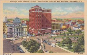 Rhode Island Providence Exchange Place Showing City Hall Biltmore Hotel And C...